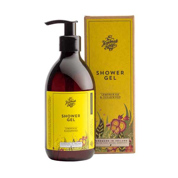 Picture shows a bottle of Shower Gel with packaging. Fragrance is Lemongrass & Cedarwood. This product is made in Ireland from purely natural ingredients. Nourish and protects sensitive skin. 100% recycled bottle.