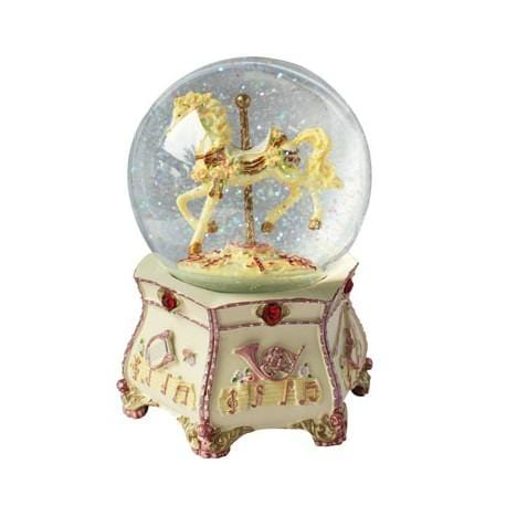Carousel Glitter Water Globe with a horse inside the globe