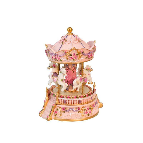 Pink carousel with porch Has 4 horses with turn to the tune Blue Danub