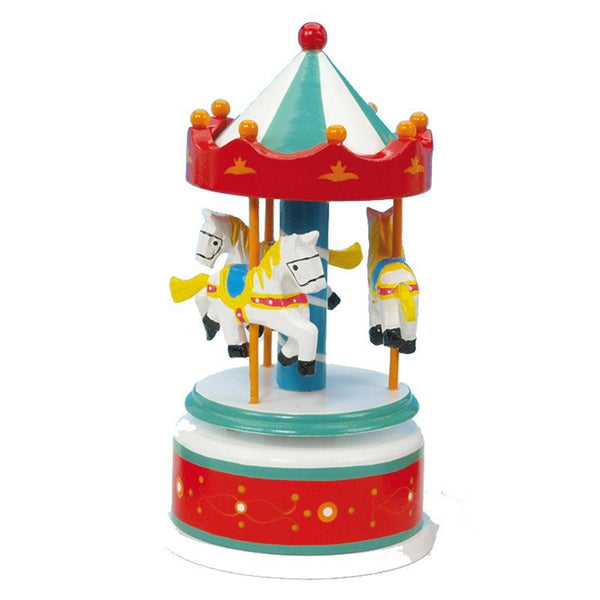 Wooden red, blue and white  carousel with three horses turns to music Magis flute