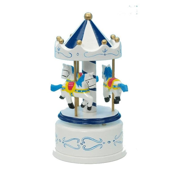 Carousel Blue and white with three horses turns to the music Blue Danube