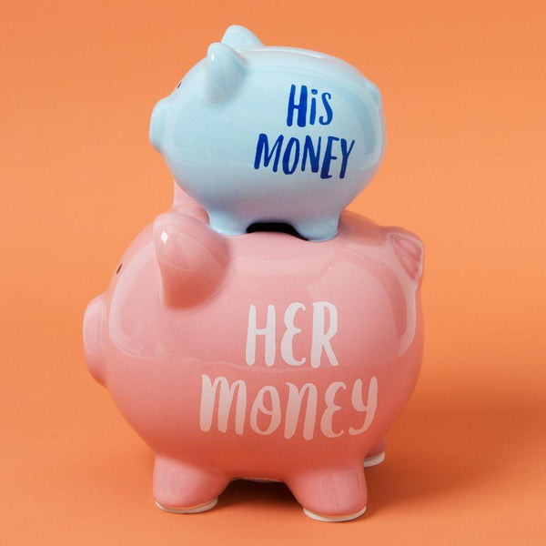 His and her moneybox When you place a coin into the moneybox it will go through the his money through to her money