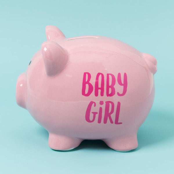 Baby Girl money box Pink moneybox with Baby girl in deeper pink text
