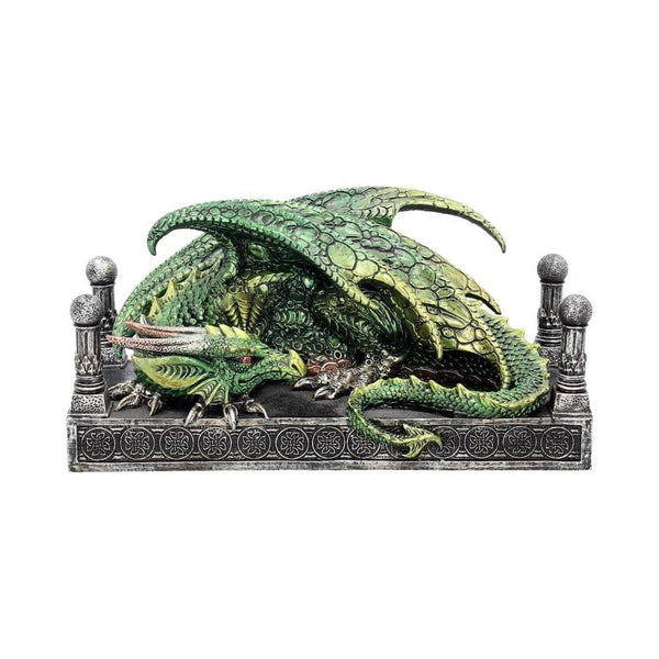 Green dragon resting on a throne