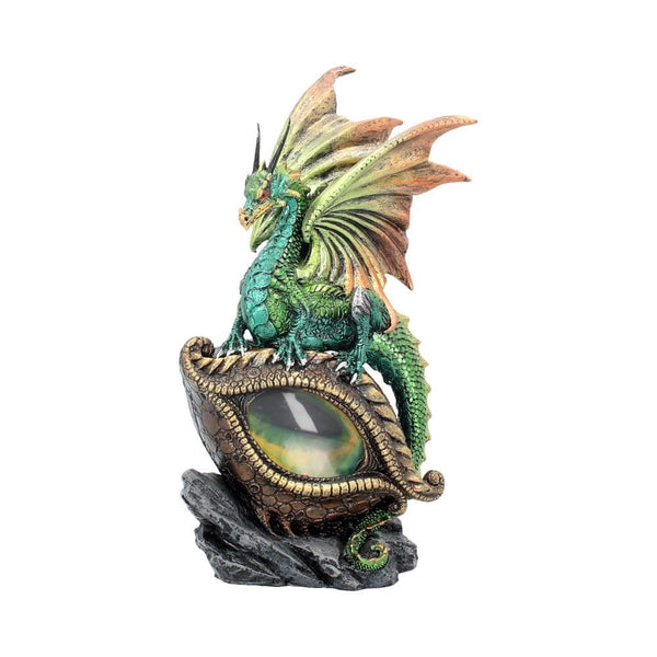 Green dragon sitting on a eye