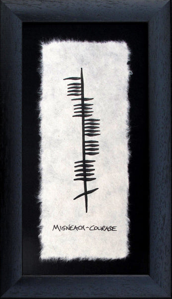 Contained is a black wooden frame is a piece of parchment with ancient writing Ogham declating Courage (misneach) in gaelic Designed and made in Ireland