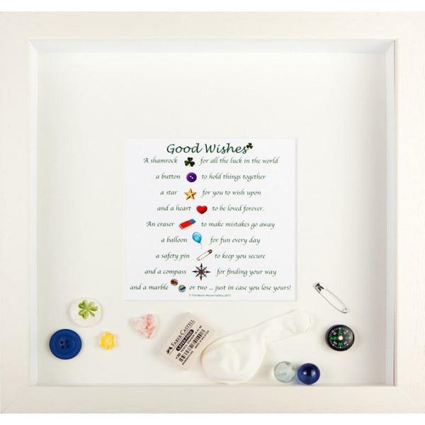 Good Wishes box frame is a white frame that contains a poem and various small items that are loose in the frame to commemorate an event like someone leaving the country of exams results