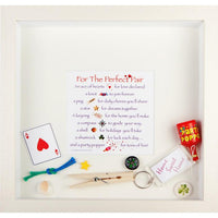 For the perfect pair box frame has items loose in the frame