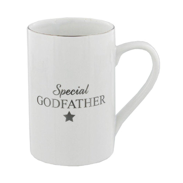 white ceramic special godfather mug with text in gold