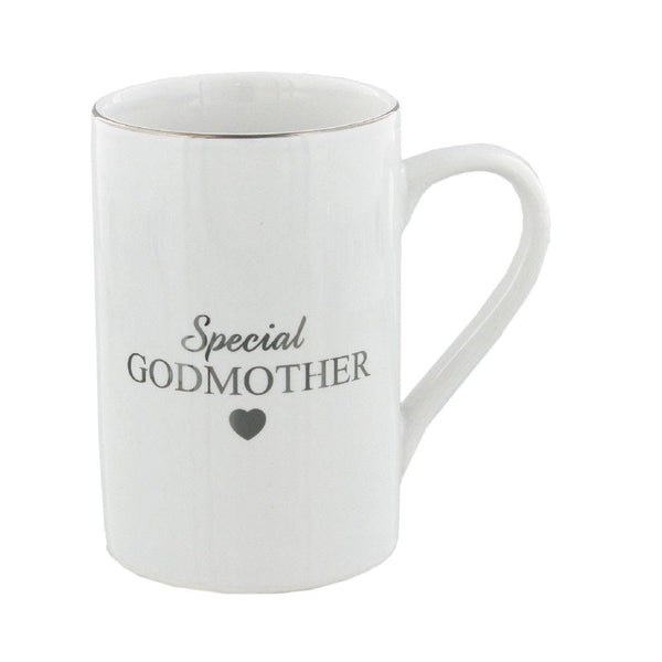Ceramic white godmother mug with gold scipt