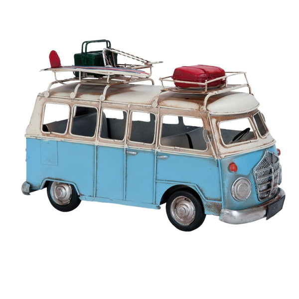 Blue VW Camper van with luggage on the roof