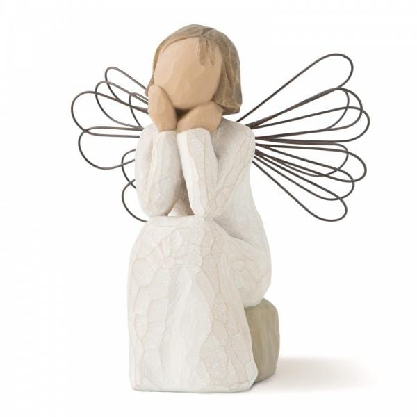 Willow Tree Angel of Caring Girl sitting on a small rock thinking about life and friends