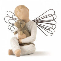 Willow Tree Angel of Comfort Boy with wings sitting holding his best furry friend a Dog