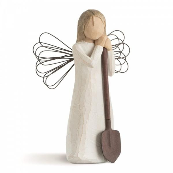 Willow Tree Angel of the garden is a figurine with wings standing holding a shovel