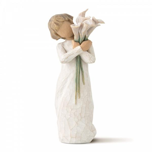 Willow Tree beautiful wishes is a figurine of a girl holding lilies and lying over her left shoulder