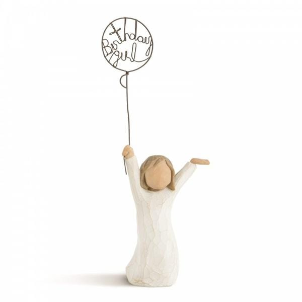Willow Tree Birthday Girl figurine of a small girl holding a balloon with birthday girl in the balloon