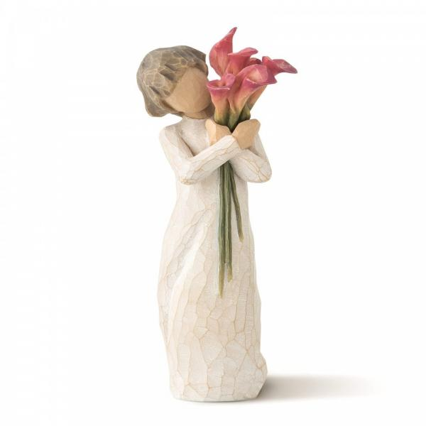 Willow Tree Bloom is a figurine of a girl holding  pink coloured lilies resting on her left shoulder l