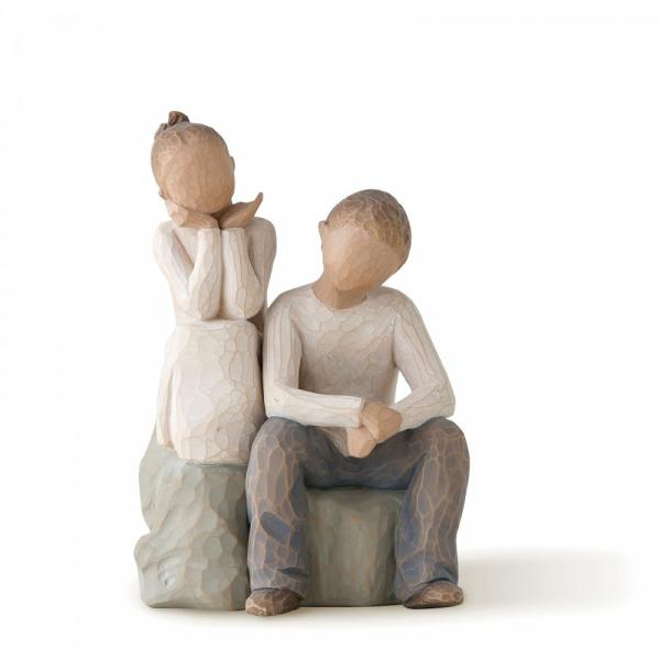 Willow Tree Brother and sister  2 figurines both sitting on a log or stone The sister has her 2 hands under her chin and the brother has his 2 elbows resting on his knees