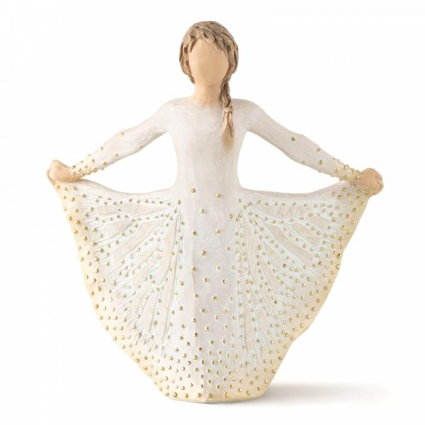 Willow Tree Butterfly is a figurine of a girl holding her gold spotted dress out each side and looks like a butterfly wings