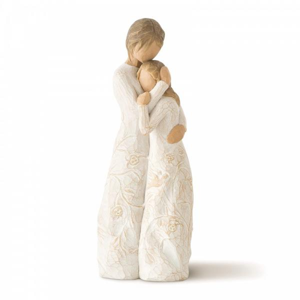 Willow Tree Close to me  figurine of a Mother and daughter. The mother is holding her daughter closely