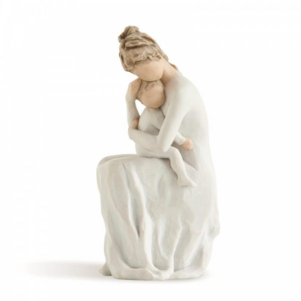 Willow tree For Always  is a figurine of a mother sitting down hugging her small child