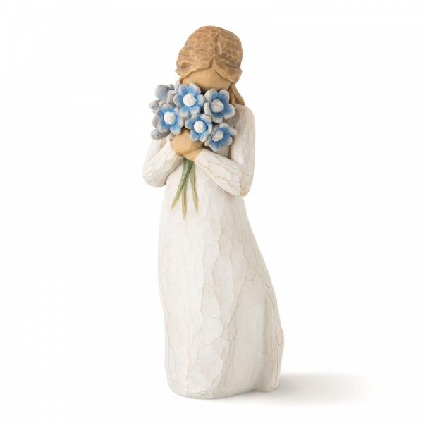 Willow Tree For get me not ia a figuri holding a bunch of forget me not flowers