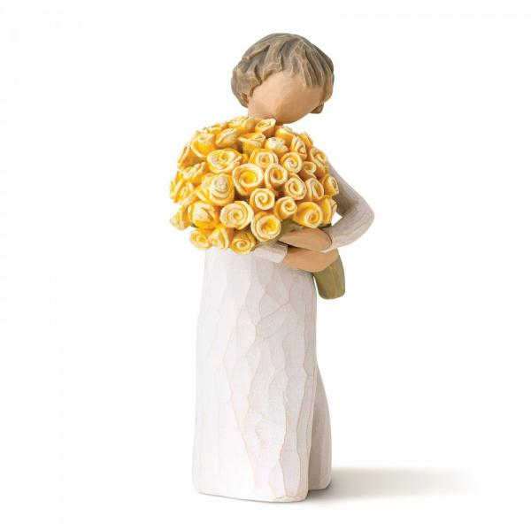 Willow tree Good cheer is a figurine of a girl holding a large bunch of yellow roses