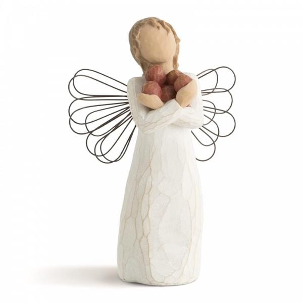 Willow Tree Good health is an Angel figurine with wings holding 4 apples