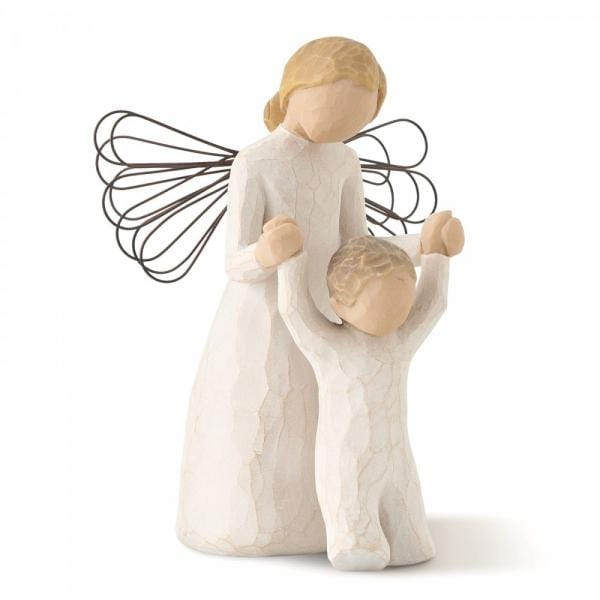 Willow Tree Guardian Angel Has an figurine with wings holding a childs hands guiding them in front with them learning to walk