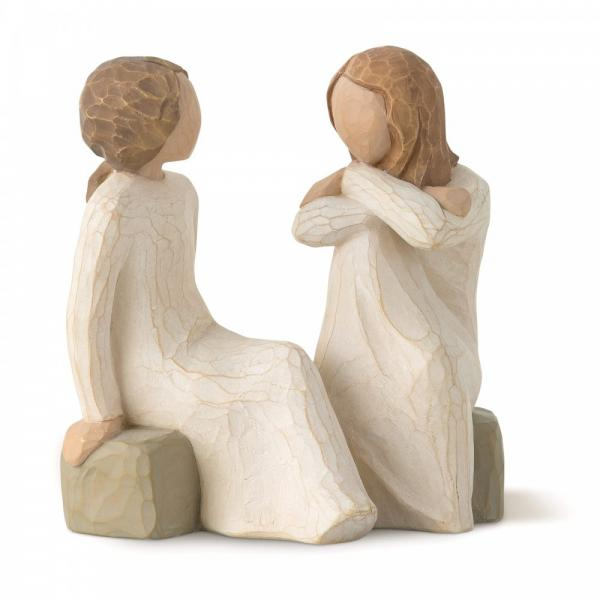 Willow Tree Heart and soul is figurines of two sisters or friends sitting on a rock together having a chat  or catch up