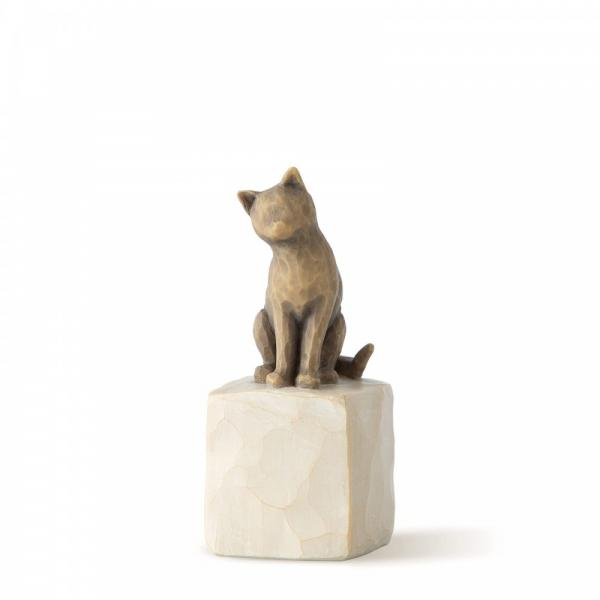 Willow Tree Love my cat dark is a figurine of a dark coloured cat sitting on a square rock