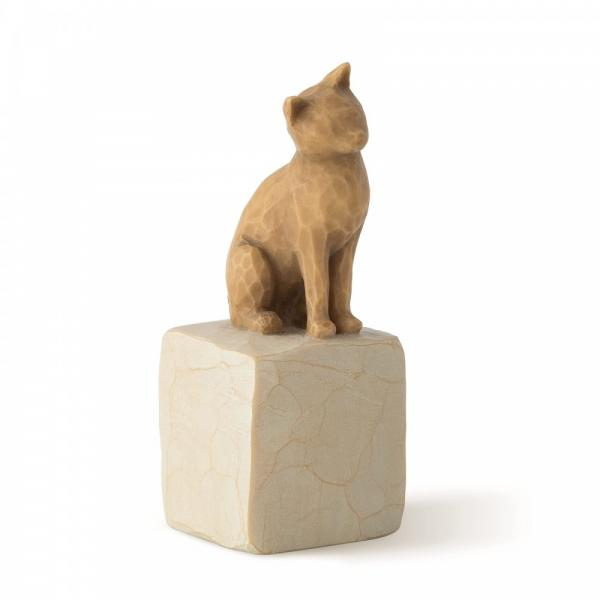 Willow Tree Love my cat light is a figurine of a light coloured cat sitting on a rock