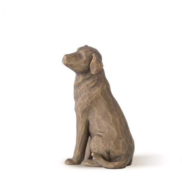 Willow Tree Love my dog dark is a small figurine of a dog sitting on his hind legs