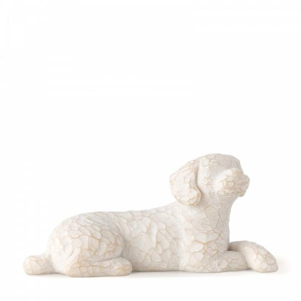 Willow Tree Love my dog lying small is a figurine of a small white coloured dog lying down with his paws crossed