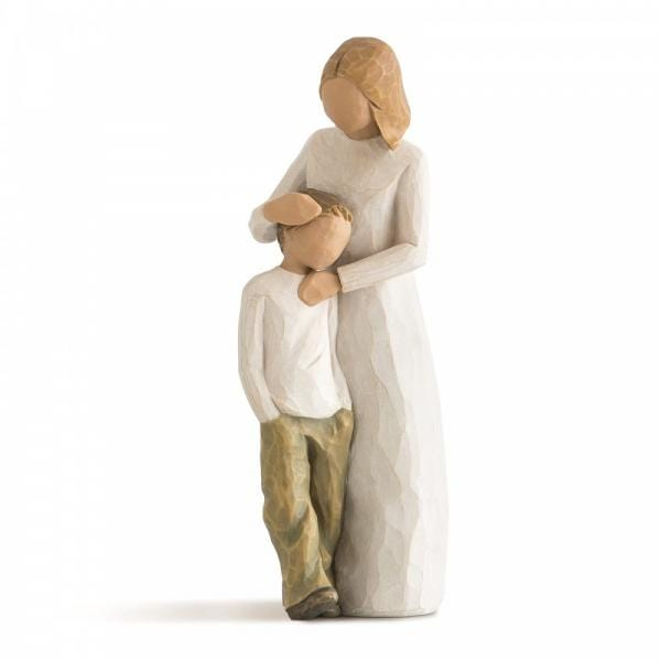 Willow Tree Mother and son A mother figurine standing beside and hugging her son about 7 years old