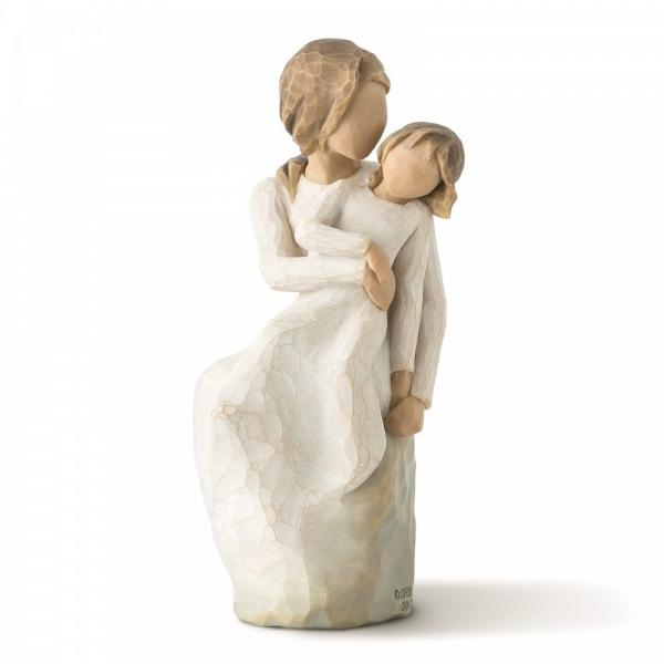 Willow Tree MotherDaughter  is a figurine of a mother sitting with a young daughter sitting on her lap with one arm around the daughter and the other holding her hand at the side of them