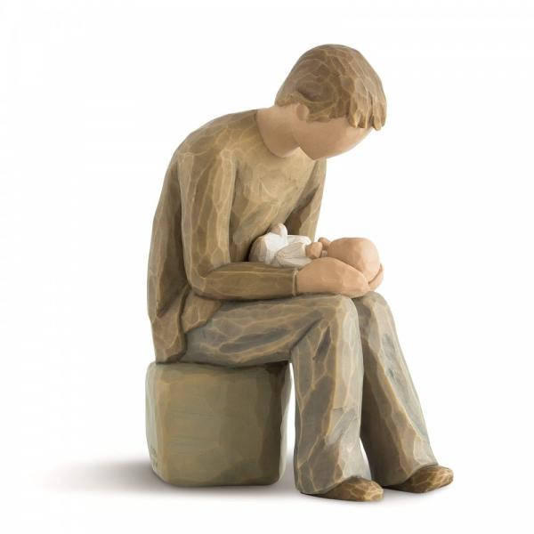 Willow Tree new dad is a dad or father figurine sitting holding his new born child