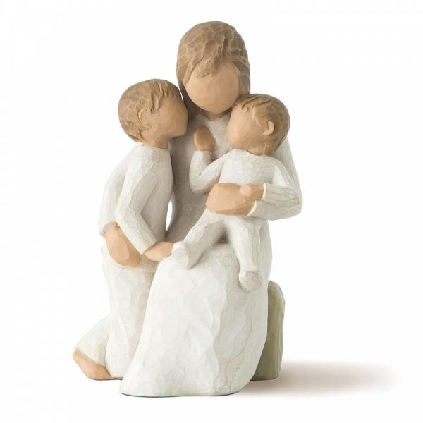 Willow Tree Quietly A mother figurine hugging her two small children