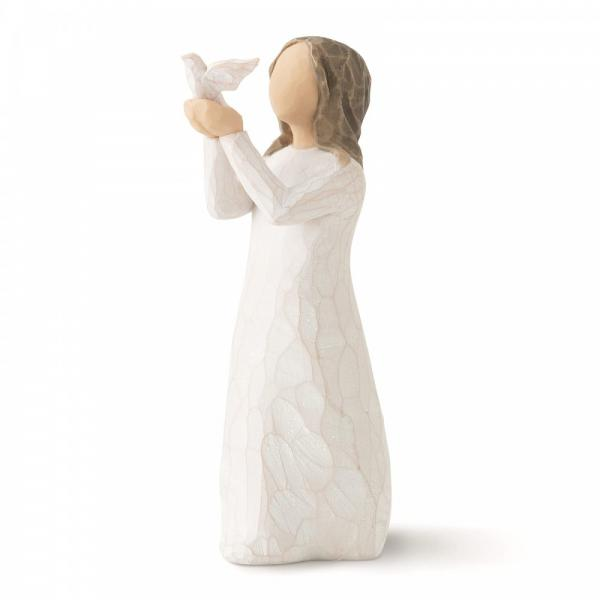 Willow Tree Soar A girl figurine holding a white dove which is ready to soar or fly