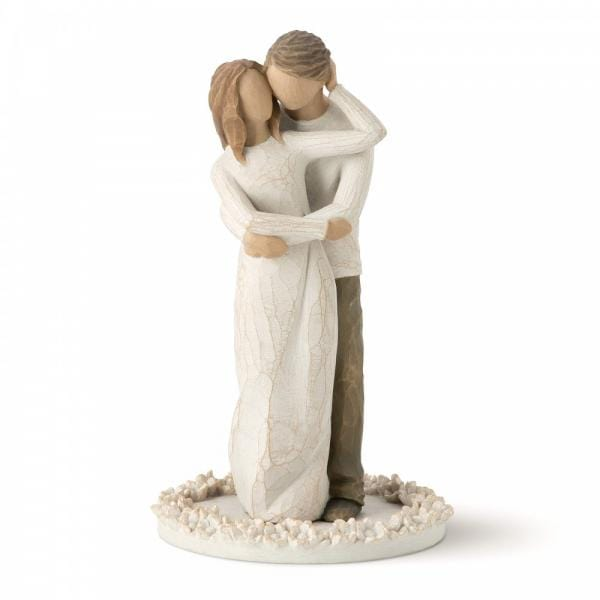 Willow Tree Together Cake topper is man and woman hugging each other