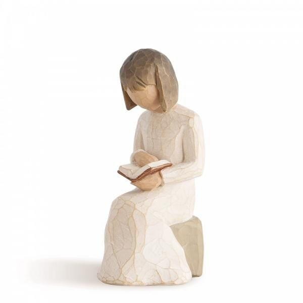 Willow Tree Wisdom is a figurine of a girl sitting on a rock reading a book