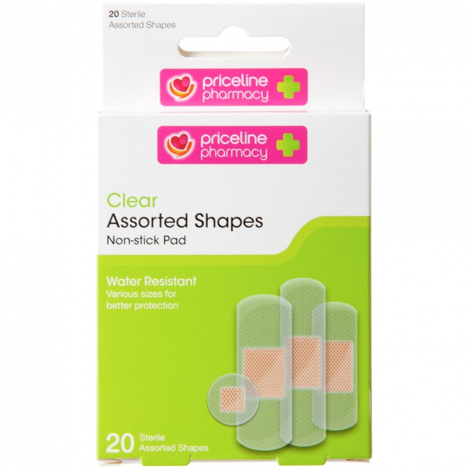 PRICELINE Clear Strips Assorted Shapes 20 Pack