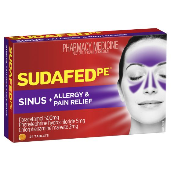 SUDAFED PE Sinus & Allergy & Pain Relief 24 Tablets