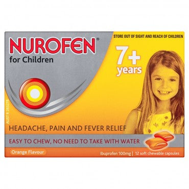NUROFEN For Children 7+ Pain and Fever Relief Chewable Capsules - Orange 12 Packs