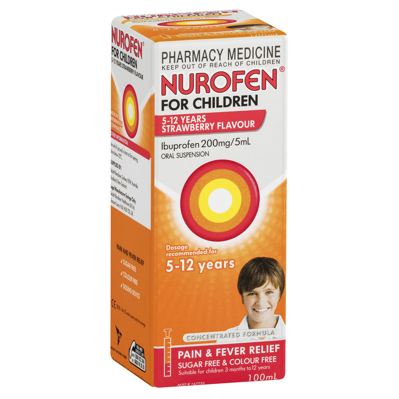NUROFEN For Children 5 to 12 Years Pain and Fever Relief Concentrated Liquid - Strawberry 100mL