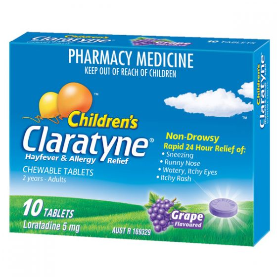 CLARATYNE Children's Hayfever Allergy Relief Antihistamine Grape Flavoured 10 Chewable Tablets