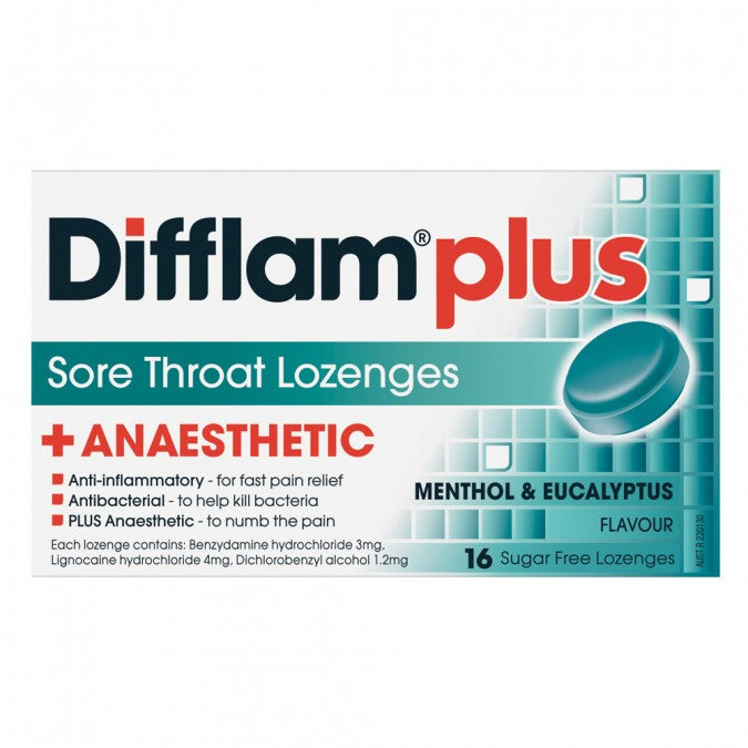 DIFFLAM PLUS Anaesthetic Sore Throat Lozenges Menthol & Eucalyptus 16 Pack