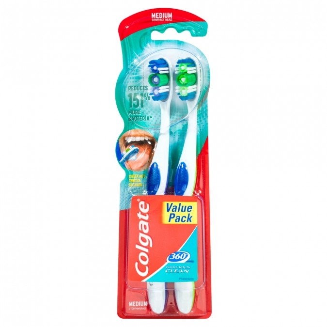 COLGATE 360 Whole Mouth Deep Clean Toothbrush Medium 2 Pack