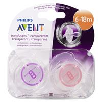 PHILIPS Avent Soother Translucent 6-18 Months BPA Free 2 Pack