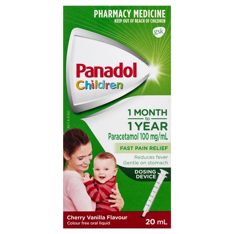 PANADOL Children 1 Month – 1 Year Fever & Pain Relief - Cherry Vanilla Flavour with Dosing Device 20mL